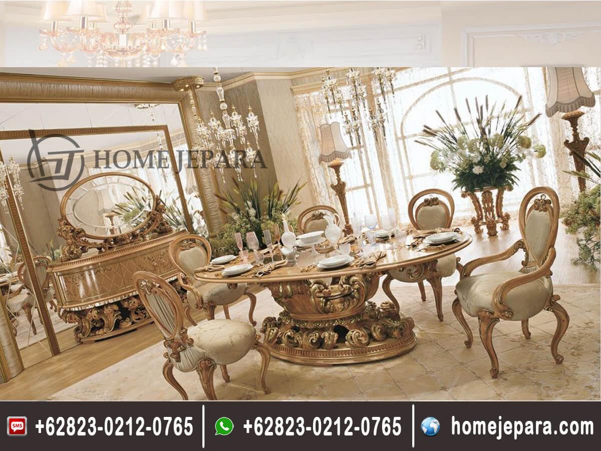 Set Kursi Makan Ukiran Klasik Gold Modern TFR - 0339