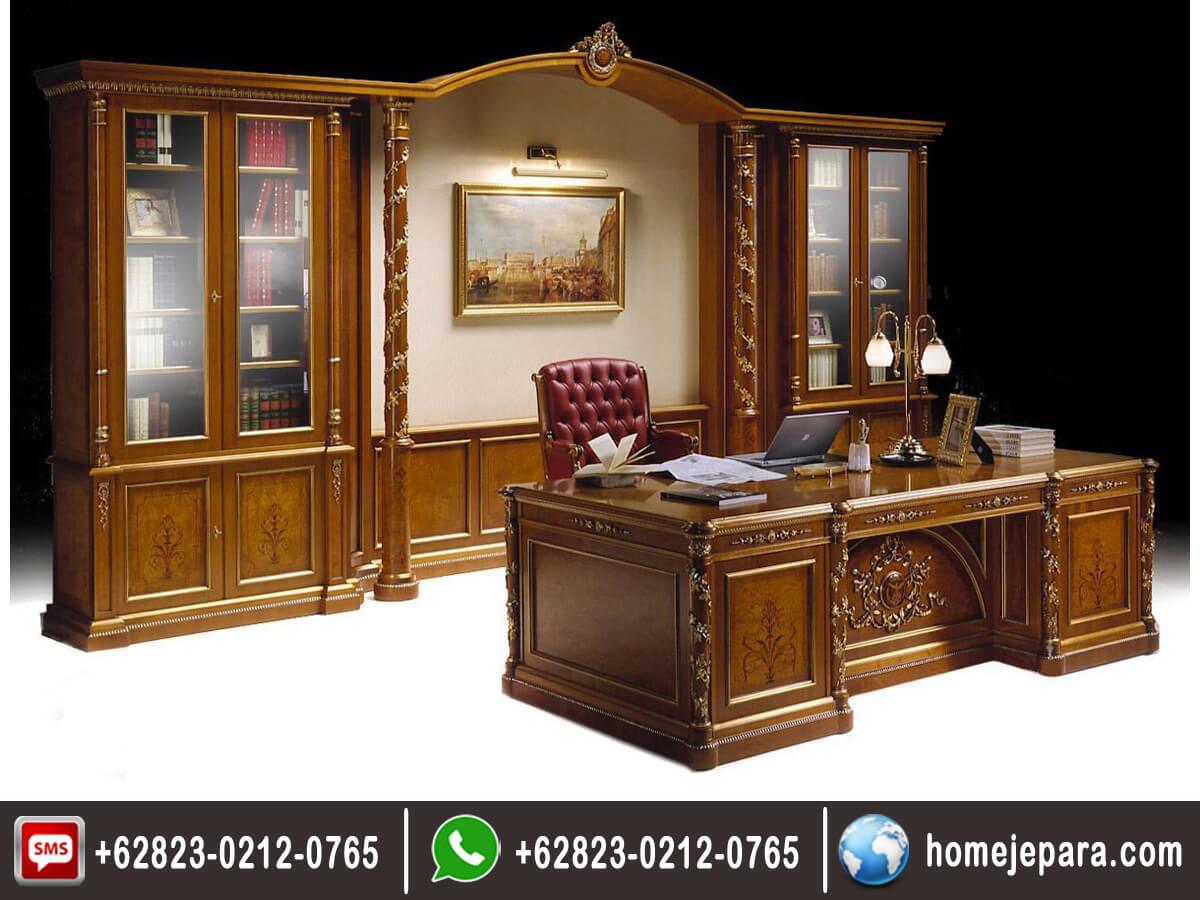 Meja Kantor Direktur Ukiran Klasik