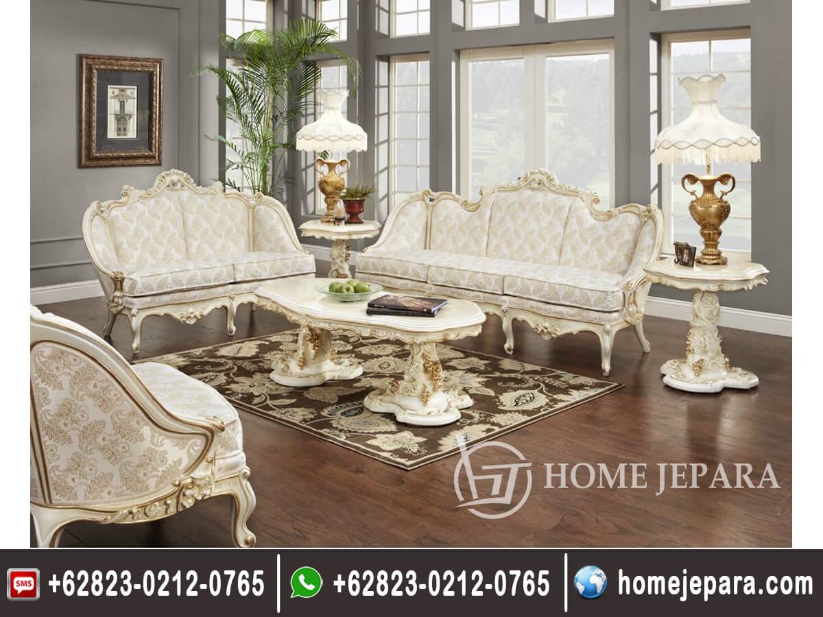 Sofa Tamu Ukiran Duco Putih TFR - 0153