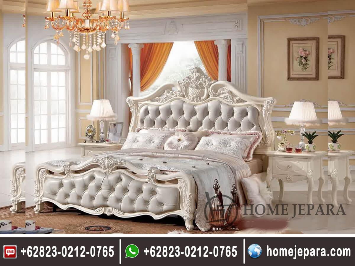 Tempat Tidur Ukiran Modern Putih TFR - 0365