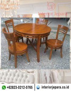 Set Meja Makan Cafe Minimalis Bulat TFR – 0487
