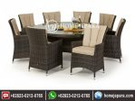 Set Meja Makan Rotan Bulat 8 Kursi Model Cafe TFR – 0321