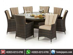 Set Meja Makan Rotan Bulat 8 Kursi Model Cafe TFR – 0321