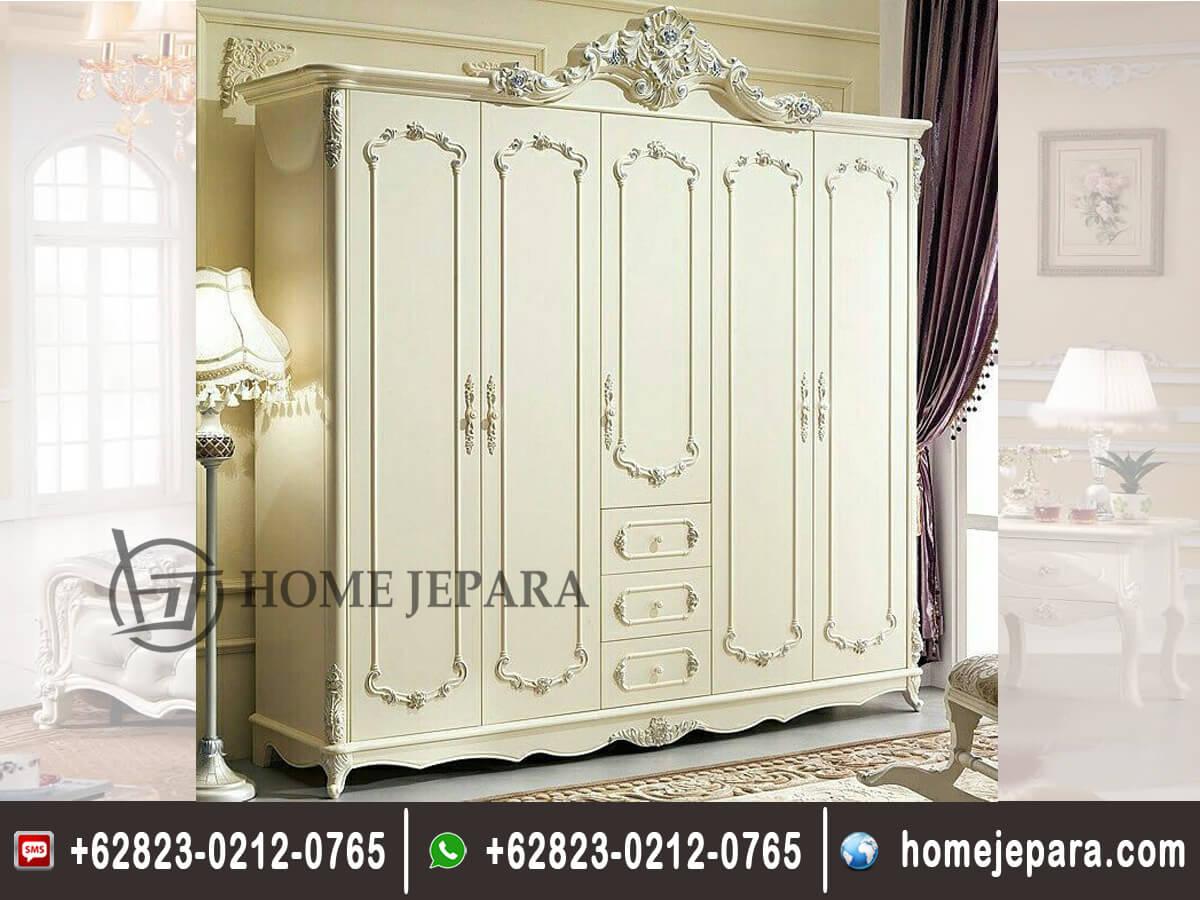 Almari Pakaian Mawar Duco Putih TFR - 0388
