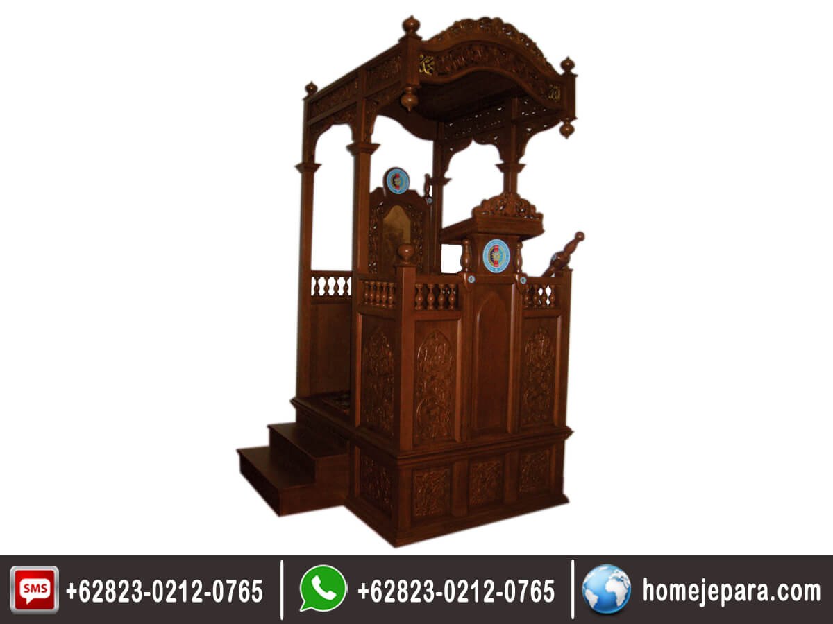 Mimbar Masjid Ukiran Jati TFR - 0348