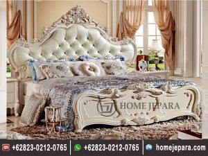 Tempat Tidur Ukiran Duco Putih Mewah