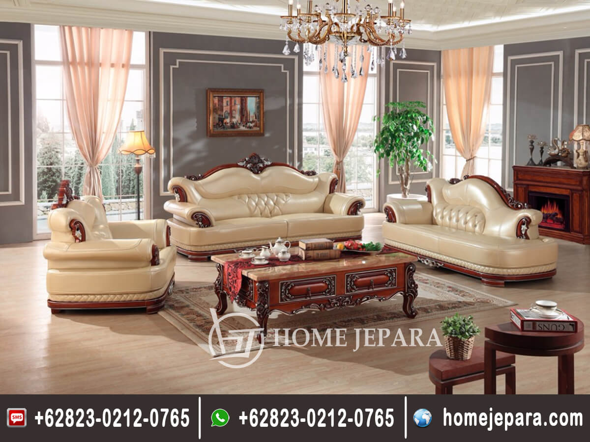 Set Sofa Tamu Jati Ukiran Model Eropa TFR - 0457