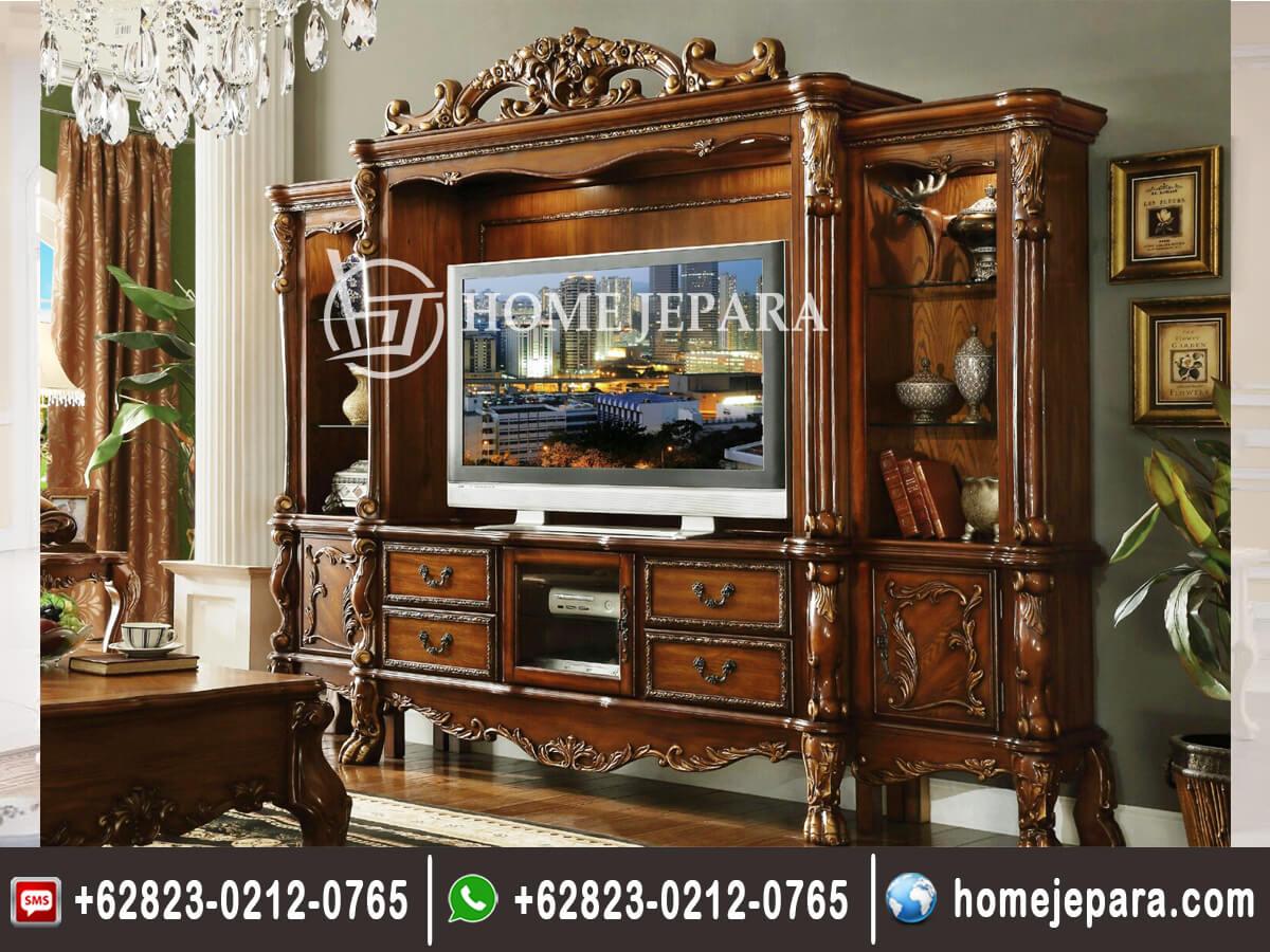 Lemari TV Ukiran Jati Terbaru TFR - 0379