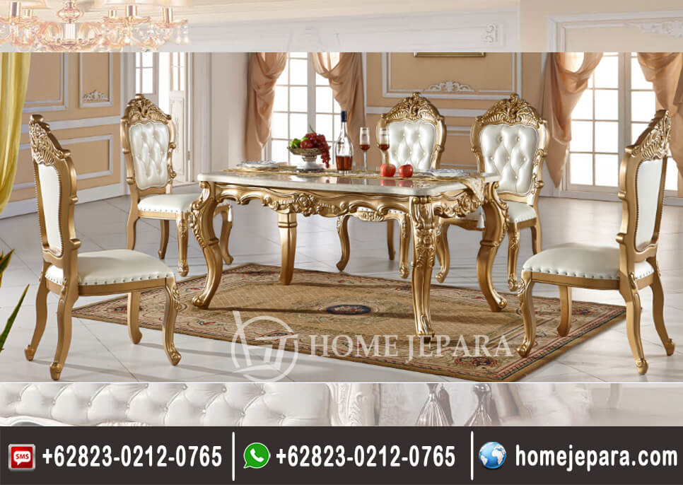 Set Meja Makan Ukiran Gold TFR - 0690